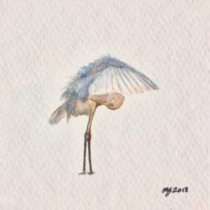 Maggie Green Crane watercolor 4x4 195