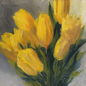 Sandra Kavanaugh Tulip Impressions oil 6x6 150