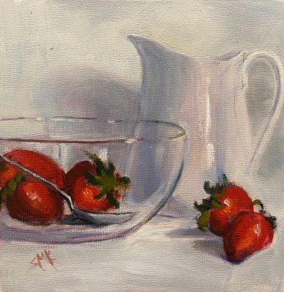 Sandra Kavanaugh Strawberries in Glass oil 6x6 150