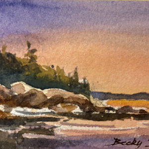 Becky Datling Maine Sunset Nature Always watercolor 2.5x4 100