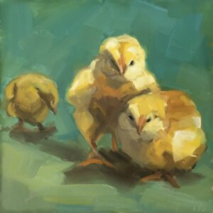 Betsy Schulthess Chicklets oil 8x8 450
