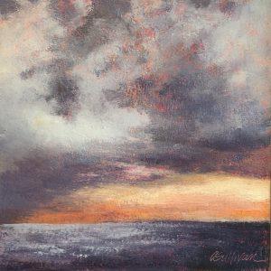 Amy Sullivan Sunset Over the Sea Oil 6x6 195