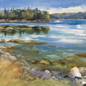 Becky Darling Garden Cove Swans Island Watercolor 21x14 575
