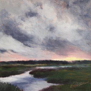 Amy Sullivan Marsh Sunset oil 6x6 195