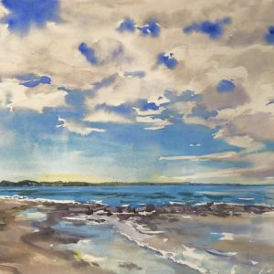Becky Darling Drakes Island August Morning Walk Watercolor 34x21 1450