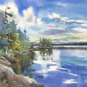 Becky Darling Umbagog Morning Watercolor 22x21 800