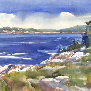 Becky Darling Cliff View Acadia National Park Watercolor 20x12 450