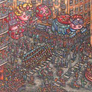 Sally Newman Funtastic Parade oil 20x24 550