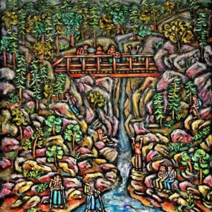 Sally Newman At the Falls oil 24x18 550