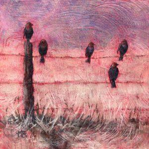 Marcia Blakeman Did You Hear the Latest Acrylic 6x6 225