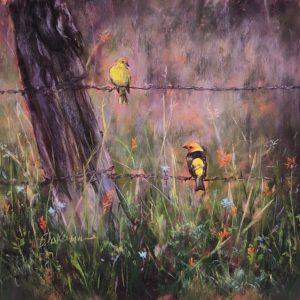 Marcia Blakeman Tanagers Pastel 10.5x10.5 695